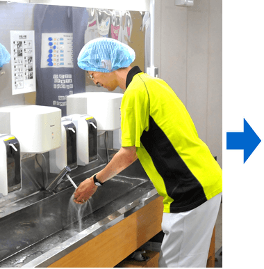 手洗い、消毒